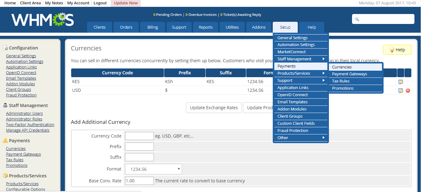 How Receive Payment in Multi Currency On Paypal Using WHMCS
